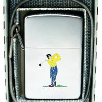 1954 Zippo Lossproof Sports Series Golfer With Lanyard in Box