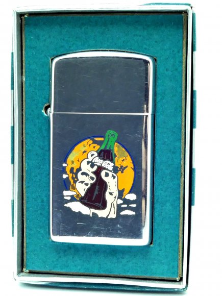 1959 Zippo Slim Lighter with Rare Etch-Fill Coca Cola Graphics