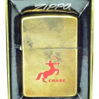 1965 Chase Brass Zippo Lighter on Rare Brushed Brass Finish