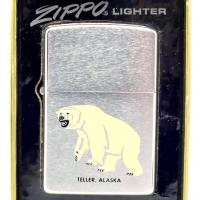 1973 Zippo Lighter - Teller, Alaska with Great Polar Bear Graphics