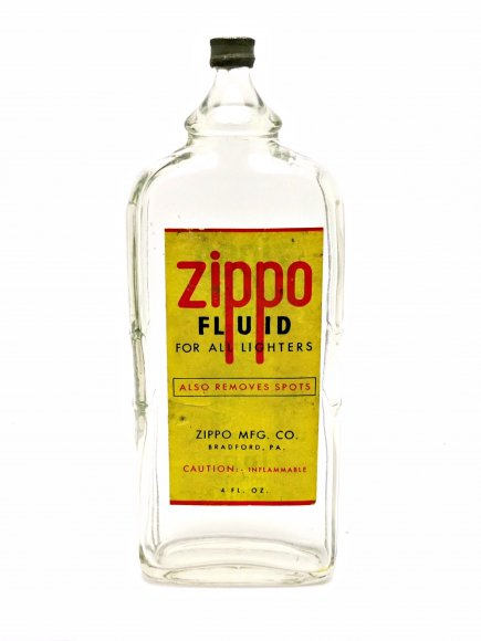 1940's Zippo Glass Lighter Fluid Bottle
