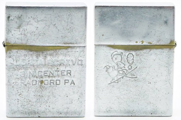 1936 Square Zippo Employee's Personal Lighter with Address on the front, and the Drake Advertising Duck on the Reverse