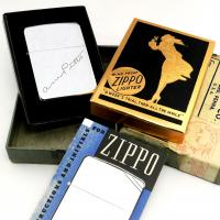 1938-39 Zippo High Polish With Facsimile Signature in Rare Gold Foil Windy Box in Outer Shipping Box