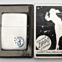1940 Chrome Plated Steel Zippo Lighter with Remington Rand Metallique Advertising, Unused in Windy Box