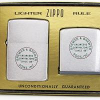 1961 Brewer & Brewer Engineers 2 Piece Zippo Gift Set.JPG