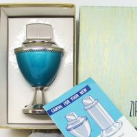 Blue Enamel Zippo Corinthian Table Lighter New in Box.JPG